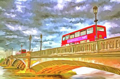 Mixed Media - Battersea Bridge Pop Art by David Pyatt