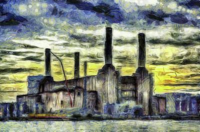 Mixed Media - Battersea Power Station London Art by David Pyatt