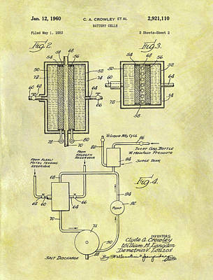 Cell Mixed Media - Battery Cell Patent by Dan Sproul