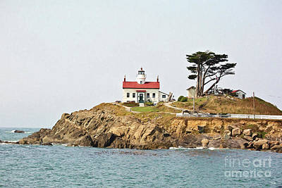 Photograph - Battery Point Lighthouse - Digital Painting by Scott Pellegrin