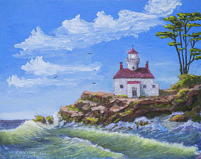 Historic Lighthouses Painting - Battery Point Lighthouse by Jerry McElroy