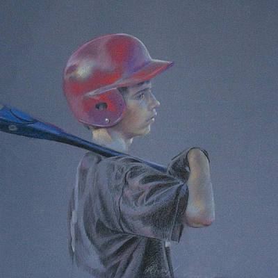 Batting Helmet Art Print by Linda Eades Blackburn