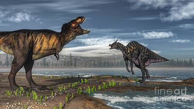Travel - Battle Between Tyrannosaurus Rex by Elena Duvernay