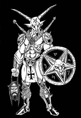 Battle Goat Black Art Print by Alaric Barca