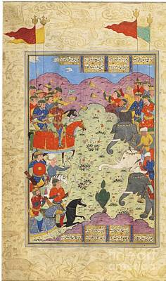 Safavid Painting - Battle Of Bahram And Saveh Shah by Celestial Images