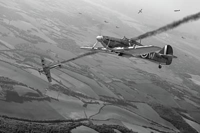 Digital Art - Battle Of Britain Air Combat Black And White Version by Gary Eason