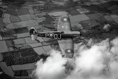 Photograph - Battle Of Britain Spitfire Bw Version by Gary Eason