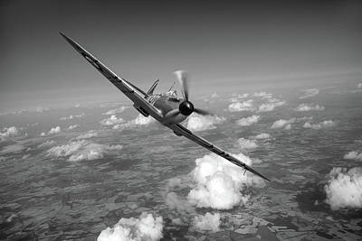 Digital Art - Battle Of Britain Spitfire Mk I Black And White Version by Gary Eason