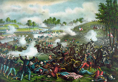 Color Mixed Media - Battle Of Bull Run - Civil War  by War Is Hell Store