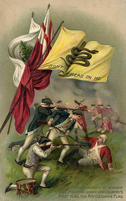 Battle Of Bunker Hill With Gadsden Flag Print by American School