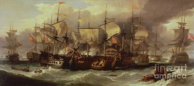 Flags Painting - Battle Of Cape St Vincent by Sir William Allan
