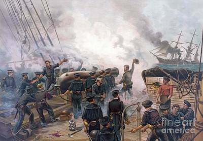 Battle Of Cherbourg Art Print by Julian Oliver Davidson