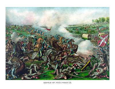North Fork Painting - Battle Of Five Forks by War Is Hell Store