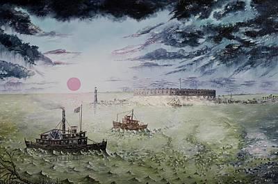 Lighthouse Painting - Battle Of Fort Pulaski by Richard Barham