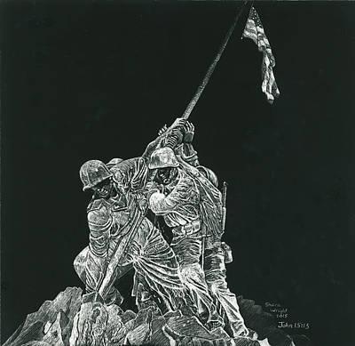 Iwo Jima Drawing - Battle Of Iwo Jima Memorial by Shara Wright