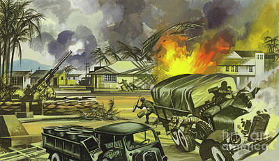 Painting - Battle Of Midway, The Japanese Bomb Midway Airfield by Ron Embleton