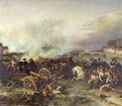 Battle Of Montereau Print by Jean Charles Langlois