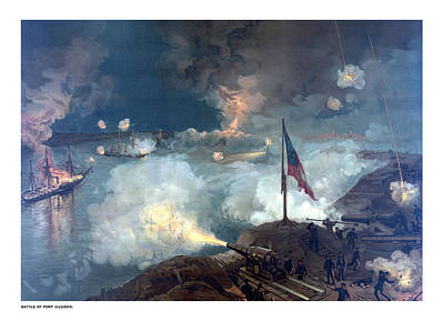 Landmarks Painting Royalty Free Images - Battle of Port Hudson Royalty-Free Image by War Is Hell Store