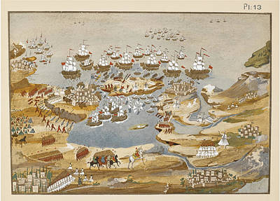 Navarino Painting - Battle Of Sfakteria And Siege Of Navarino During The Greek War Of Independence 1825 by Panagiotis Zographos