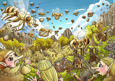 Battle Of The Bees Art Print by Reynold Jay
