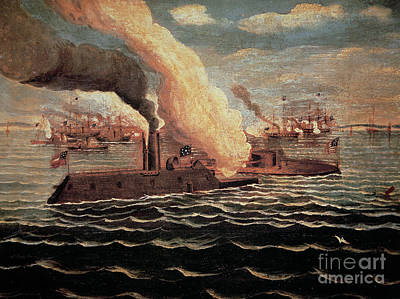Battle Of The Monitor And The Merrimack Art Print