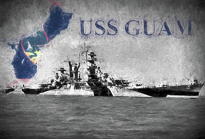 Digital Art - Battlecruiser Uss Guam by JC Findley