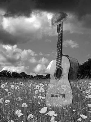 Photograph - Battlefield Blues In Black And White - Guitar In Poppy Field by Gill Billington