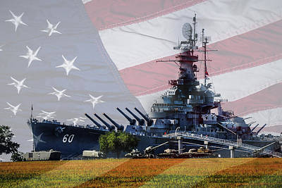 Photograph - Battleship Alabama Portside With Flag by Michael Thomas