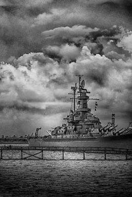 Photograph - Battleship In Black And White by Judy Hall-Folde