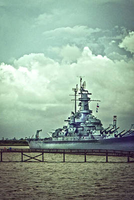 Photograph - Battleship In Mobile Bay by Judy Hall-Folde