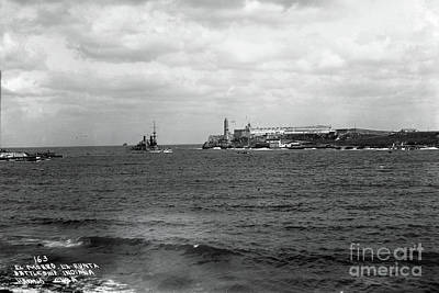 Photograph - Battleship Indiana Entered Havana Harbor, Cuba 1898 by California Views Mr Pat Hathaway Archives