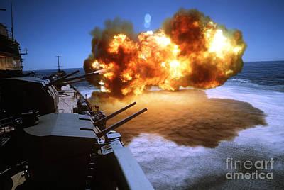 Battleship Uss Missouri Fires One Art Print