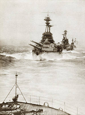Battleships From A Battle Squadron Of Art Print by Vintage Design Pics