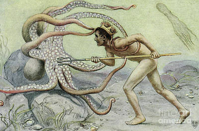Neptune Wall Art - Painting - Battling The Great Octopus Scene From The Great Sea Horse by John Elliot
