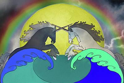 Digital Art - Battling Unicorns by John Haldane