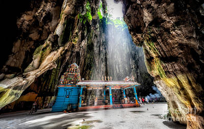 Golden Digital Art - Batu Cave Sunlight by Adrian Evans