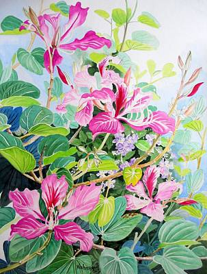 Painting - Bauhinia And Duranta by Vishwajyoti Mohrhoff
