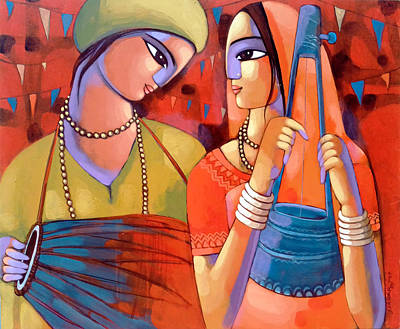 Indian Contemporary Artist Painting - Baul by Sekhar Roy