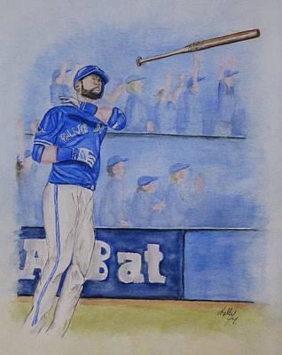 Bautista Bat Flip Art Print by Kelly Mills
