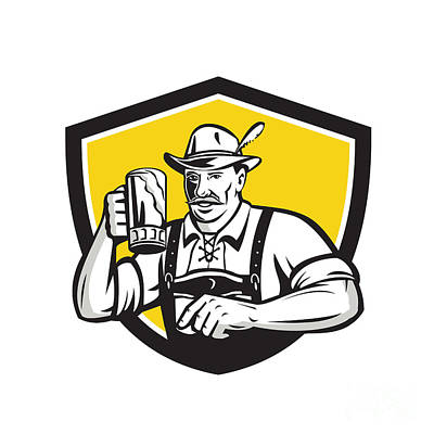 Oktoberfest Digital Art - Bavarian Beer Drinker Oktoberfest Crest Retro by Aloysius Patrimonio