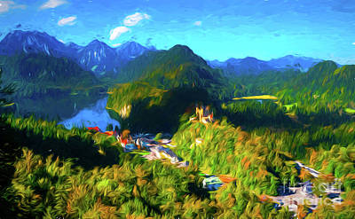 Digital Art - Bavarian Countryside by Pravine Chester