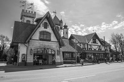 Michigan Frankenmuth Photograph - Bavarian Village On Sunny Day Black And White by John McGraw