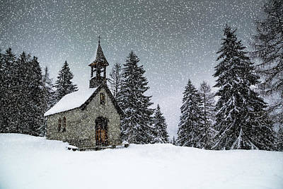 Winter Abstract Photograph - Bavarian Winter's Tale Anna Chapel by Melanie Viola
