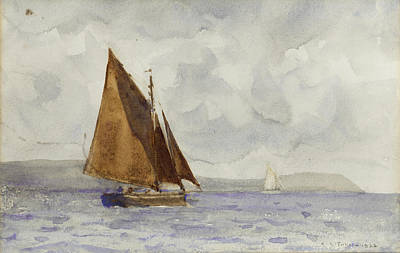Print featuring the painting Bawley Running Up The Coast by Henry Scott Tuke
