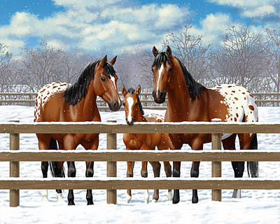 Bay Horse Painting - Bay Appaloosa Horses In Snow by Crista Forest