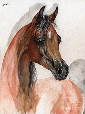 Bay Arabian Horse Watercolor Portrait Print by Angel  Tarantella
