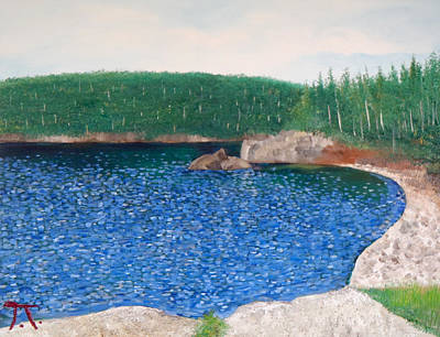 Split Rock Lighthouse Painting - Bay At The Kayak Campsite At Split Rock by Troy Thomas