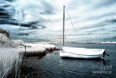 Bay Boat Blue Infrared Art Print
