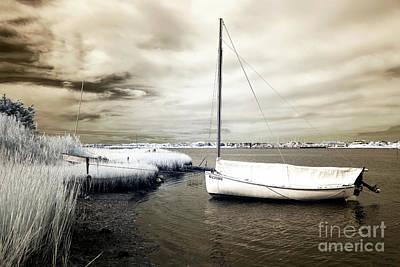 Bay Boat Brown Infrared Art Print