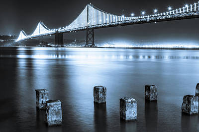 Photograph - Bay Bridge 1 In Blue by Stephen Holst